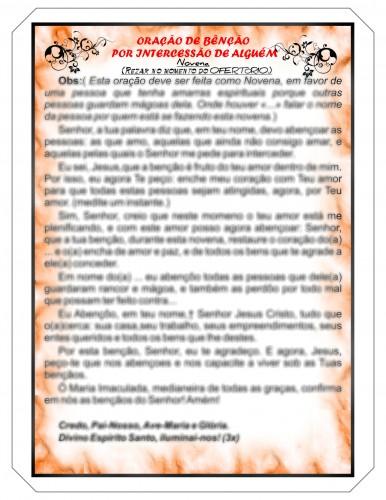 Oração de Bênção por intercessão de alguém plastificada (Novena da Projeção)